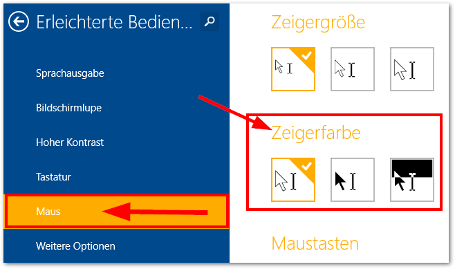 Windows 8 8.1 Zeigerfarbe ändern