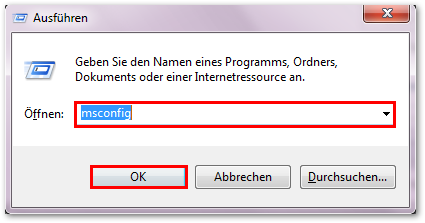 Windows 7: msconfig eingeben