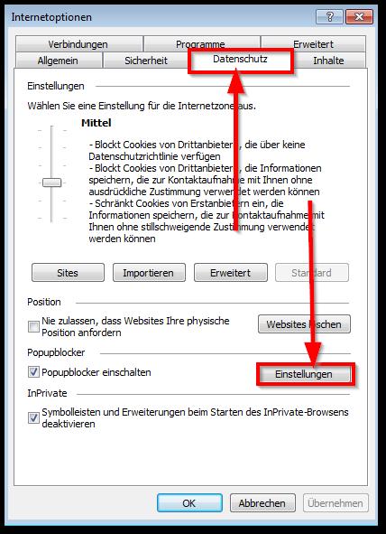 Internet Explorer Popup Blocker Deaktivieren