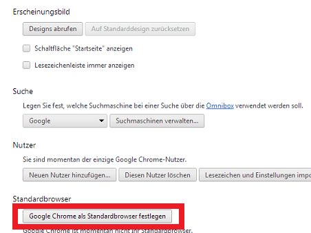 Chrom als Standardbrowser