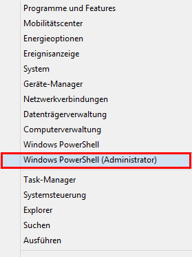 Windows PowerShell Als Admin öffnen