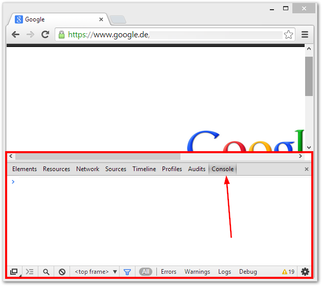 Google Chrome Browser Console