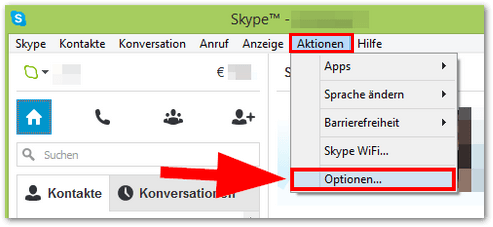 Skype Optionen
