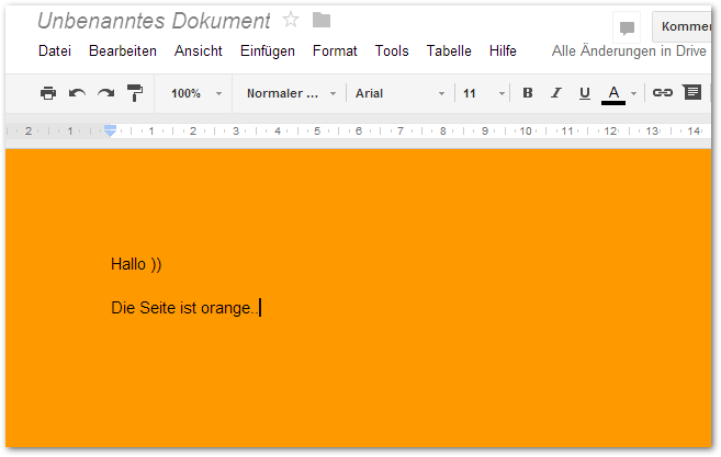 Beispeil Dokument in Google Docs