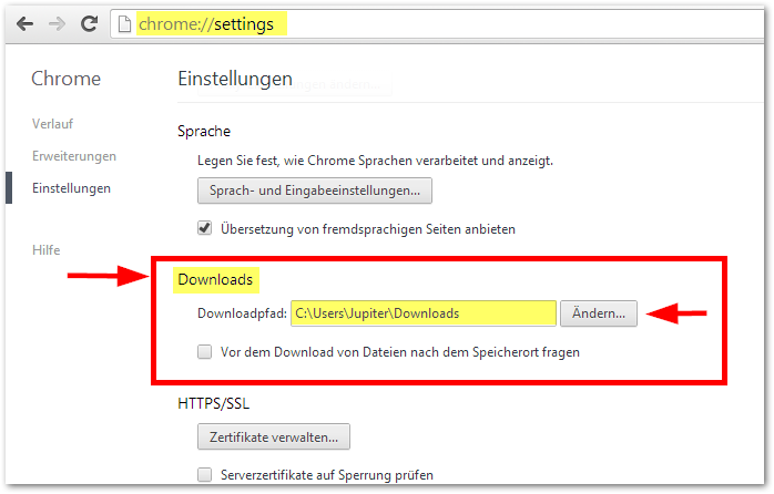 Google Chrome Browser: Download Ordner