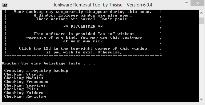 Junkware Removal Tool Screenshot