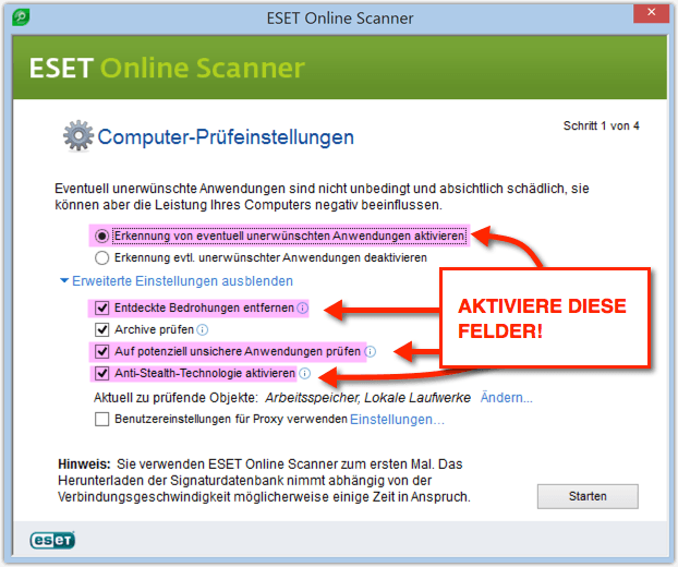 ESET Online Scanner Screenshot
