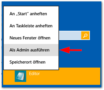 Windows 8: Notepad als admin öffnen