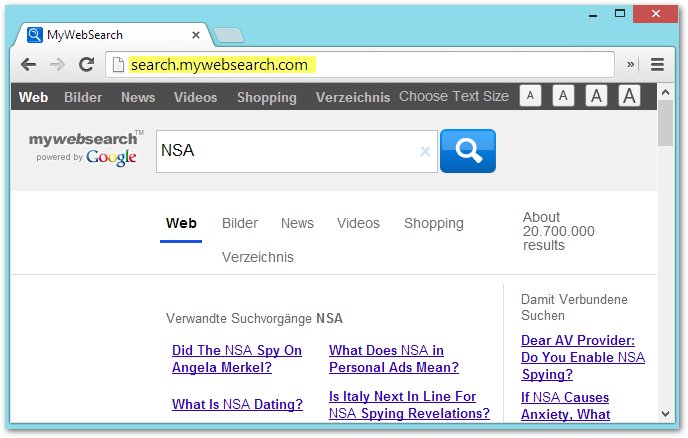 mywebsearch.com Screenshot