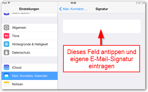 iOS E-Mail Signatur