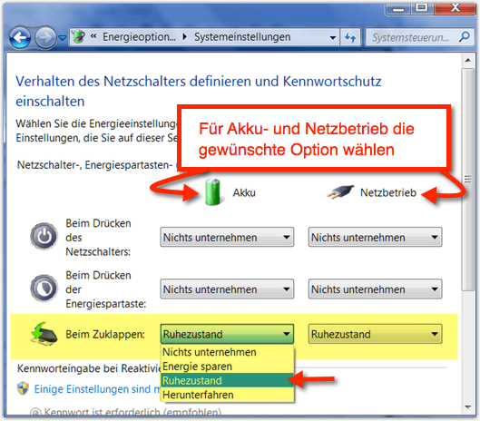 Windows 7: Beim Zuklappen