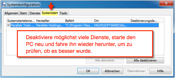 Windows 7: Autostart bei msconfig