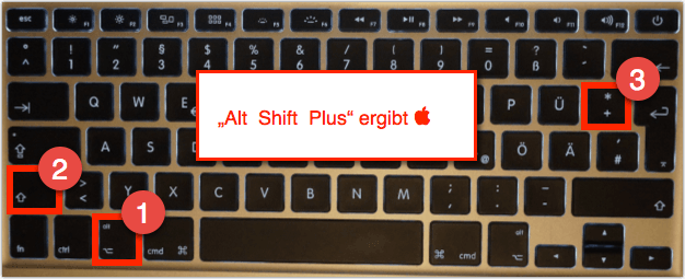 Mac Shortcut: Alt   Shift  + ergibt  den Apfel