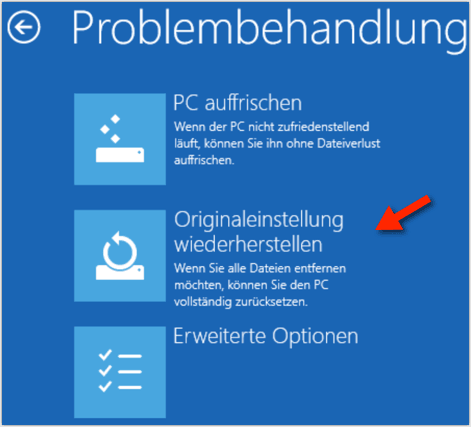 Windows 8, Windows 8.1: Originaleinstellung Wiederherstellen
