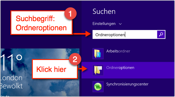 Windows 8.1: Ordneroptionen finden