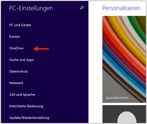 Windows 8.1 OneDrive Einstellungen
