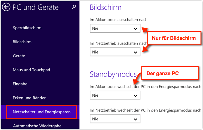 Windows 8.1: Energiesparmodus aktivieren