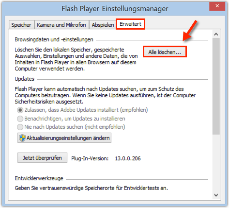 Flash Player Einstellungen