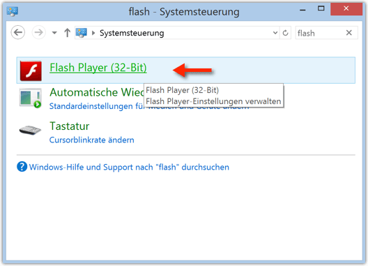 Windows: Flash Player in der Systemsteuerung finden