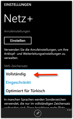 Windows Phone 8.1: SMS-Zeichensatz