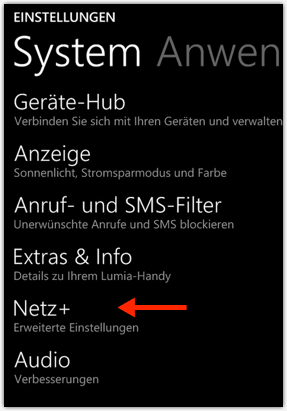 Windows Phone 8.1: Netz+