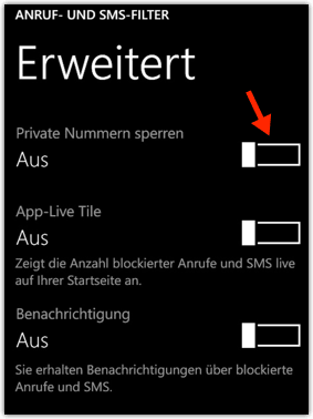 Windows Phone 8.1: Private Nummern Sperren