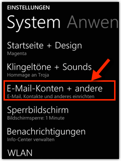 Windows Phone 8 8.1 : E-Mail-Konten + andere