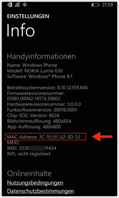 Windows Phone 8 oder Windows Phone 8.1: Mac-Adresse des Handys