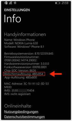 Windows Phone 8 oder Windows Phone 8.1: Bildschirmauflösung