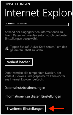 Windows Phone: Internet Explorer --> Erweiterte Einstellungen