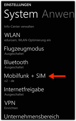 Windows Phone 8.1: Mobilfunk + SIM