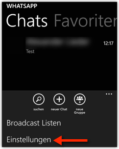WhatsApp Einstellungen auf Windows Phone