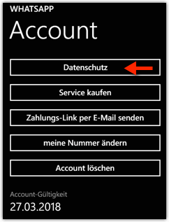 Windows Phone: WhatsApp --> Account --> Datenschutz