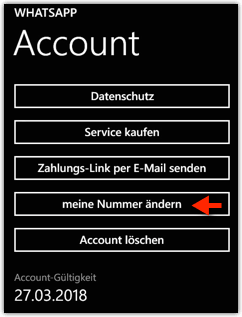 Windows Phone: WhatsApp --> Account --> Nummer ändern