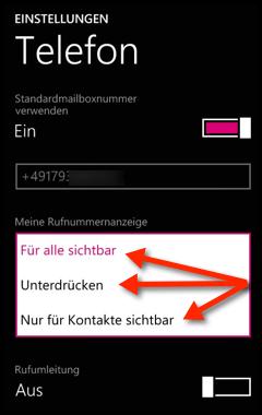 eigene nummer anzeigen windows phone