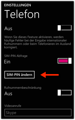 Windows Phone: SIM-PIN Nummer ändern