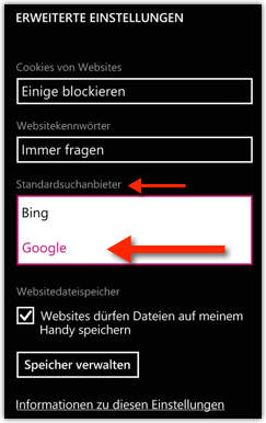 Windows Phone: Standardsuchanbieter Google machen