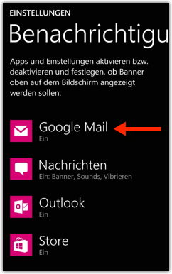 Windows Phone: Google Mail sounds
