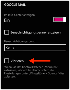 Windows Phone: Google Mail Vibration