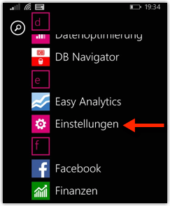 Windows Phone Einstellungen