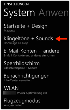 Windows Phone 8.1: Klingeltöne + Sounds