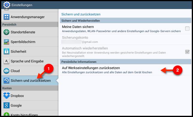Samsung Galaxy Tab 2: Zurücksetzen (Hard Reset) - TechFrage