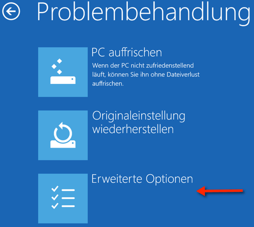Windows 10: Erweiterte Optionen