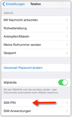 iPhone: SIM-PIN Einstellungen