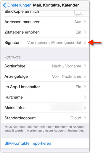 iPhone: E-Mail Signatur ändern