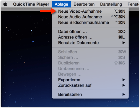 Quick Time  Player: Ablage --> Neue Video-Aufnahme