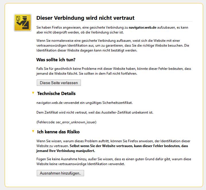 Firefox Fehlermeldung: Dieser Seite wird nicht nicht vertraut ...