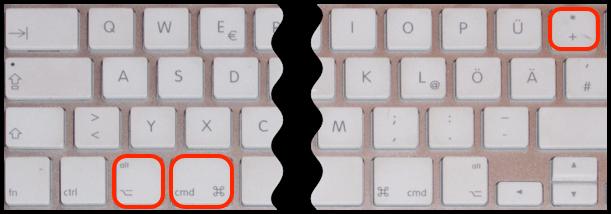 Pluszeichen Mac