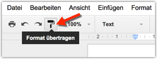Google Docs: Format übertragen Screenshot