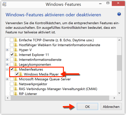 Medienfeatures --> Windows Media Player deaktivieren oder aktivieren